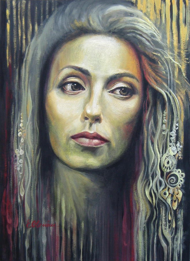 Portrait Painting - Contemplation by Elena Oleniuc
