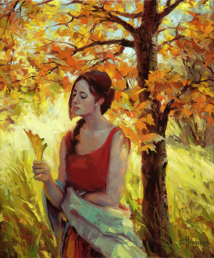 Woman Painting - Contemplation by Steve Henderson