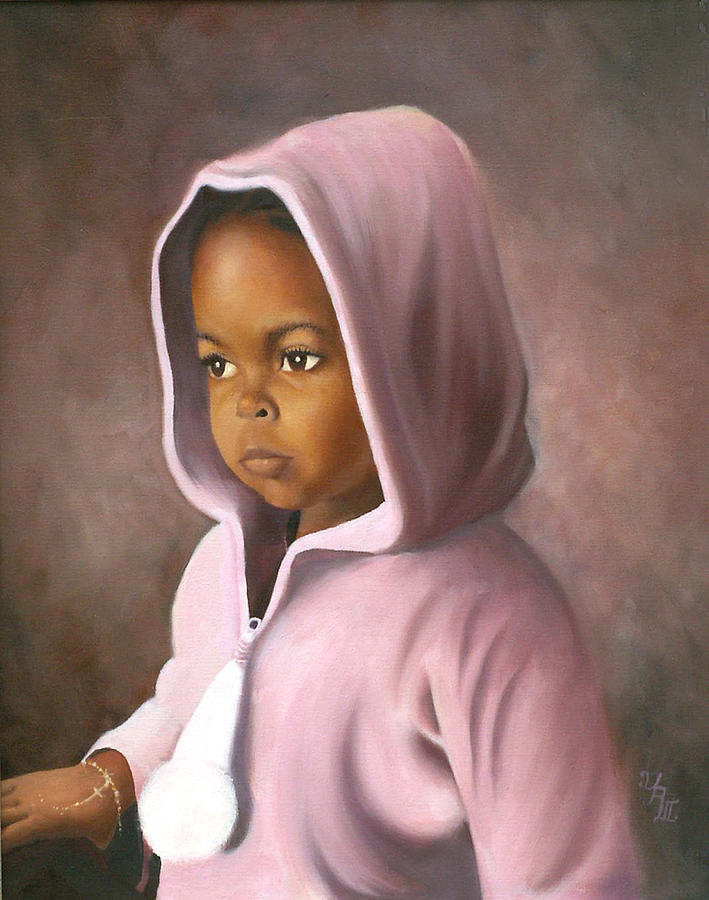 3 Year Old Girl Painting - Contemplation by Ulysses Albert III