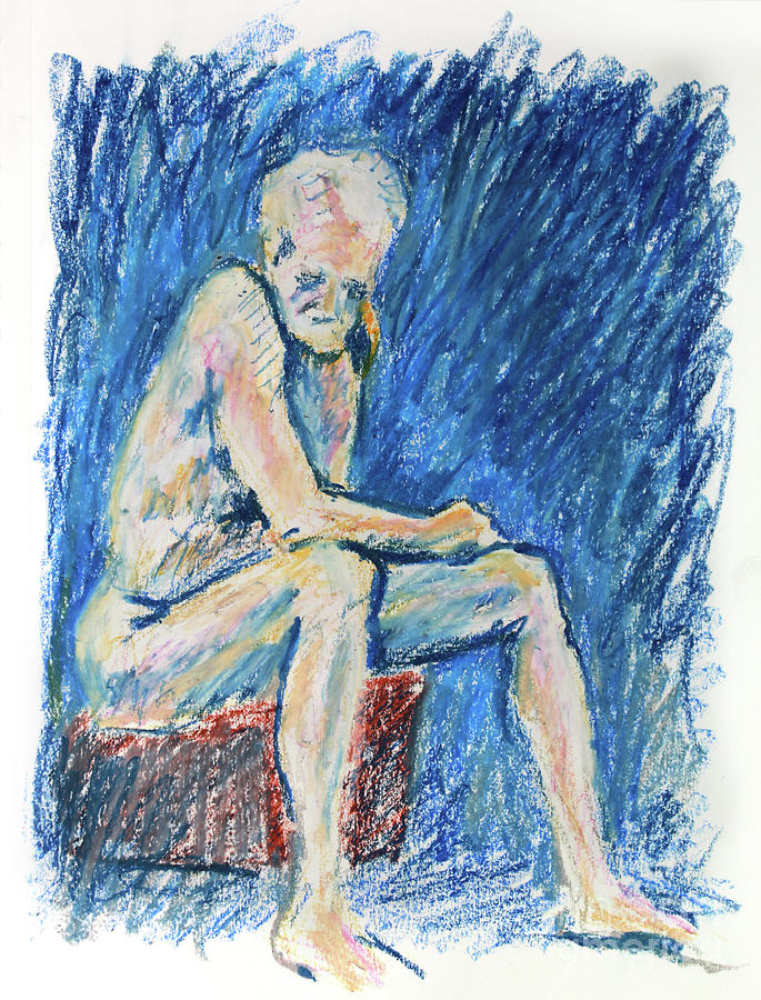 Draw Drawing - Contemplative A Nude Male Oil Pastel Drawing In Blue by Adam Long