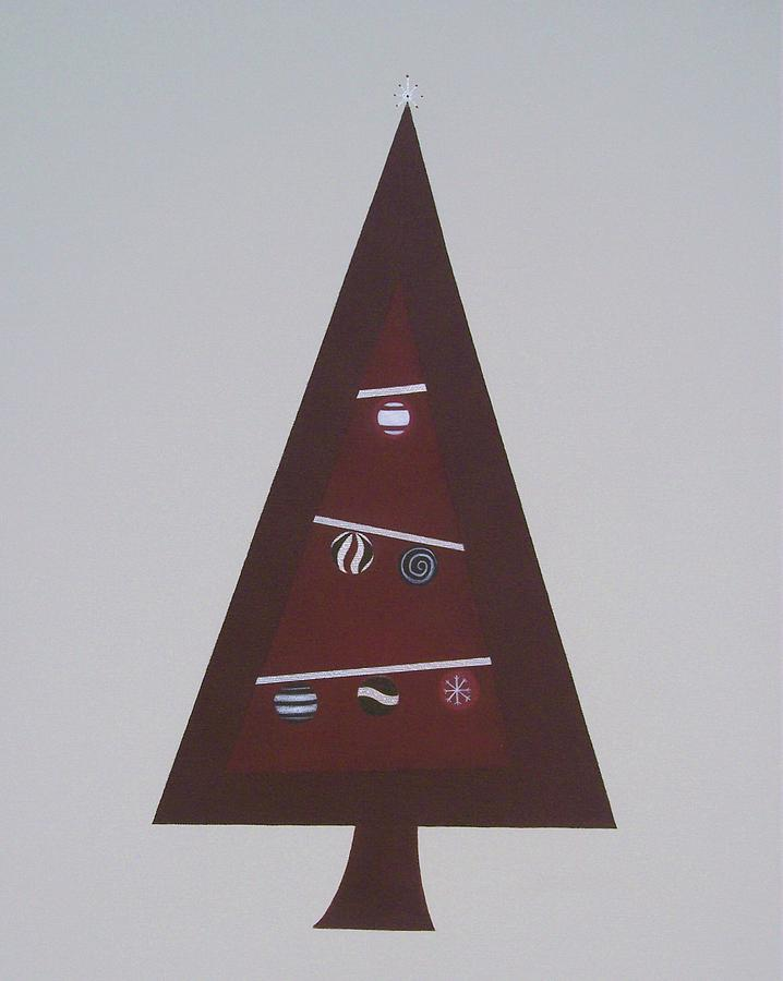 Abstract Christmas Painting - Contemporary Christmas Tree by Sandy Bostelman
