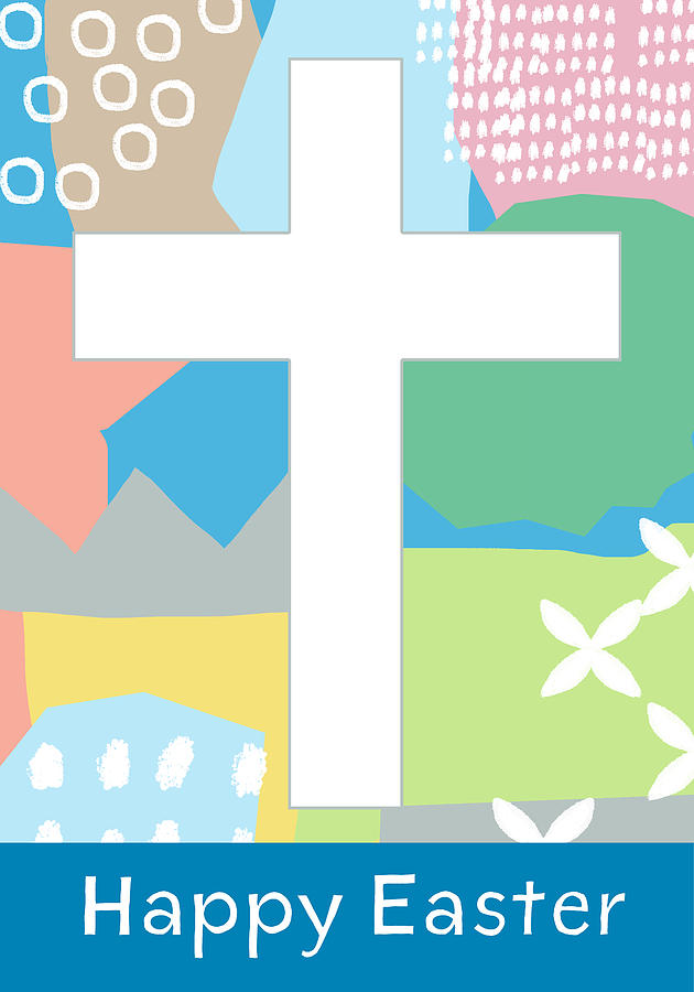 Easter Mixed Media - Contemporary Easter Cross- Art by Linda Woods by Linda Woods