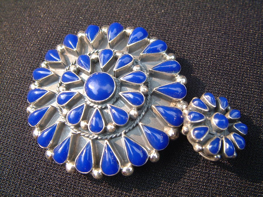 Contemporary Egyptian Silver Pendant Decorated With Blue Ornaments Jewelry by Silversmith