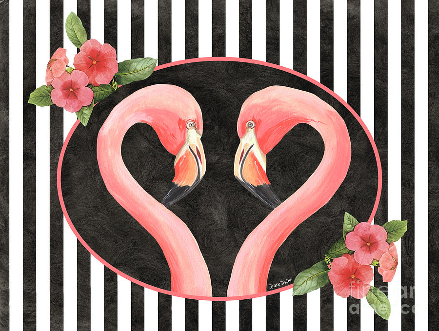Flamingo Painting - Contemporary Flamingos 1 by Debbie DeWitt
