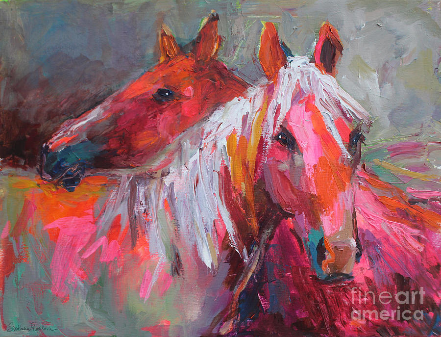 Horse Oil Painting Painting - Contemporary Horses Painting by Svetlana Novikova