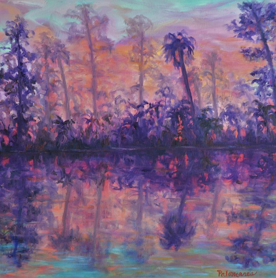 Contemporary Nature Painting Tropical Lake Sunset by Amber Palomares