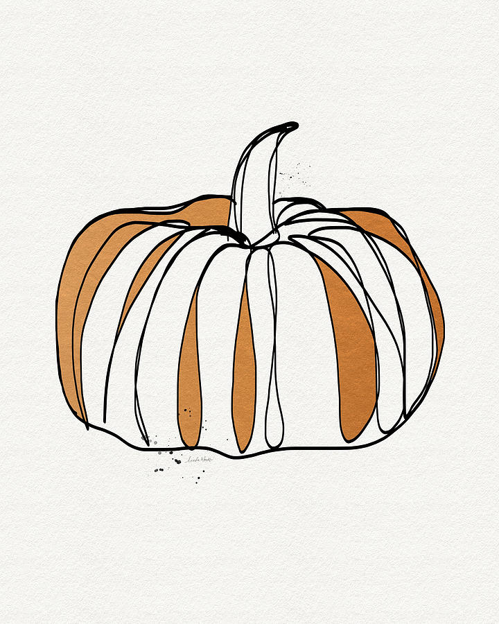 Pumpkin Drawing - Contemporary Pumpkin- Art By Linda Woods by Linda Woods