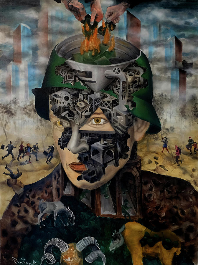 Political Painting - Contemporary War by Obie Platon