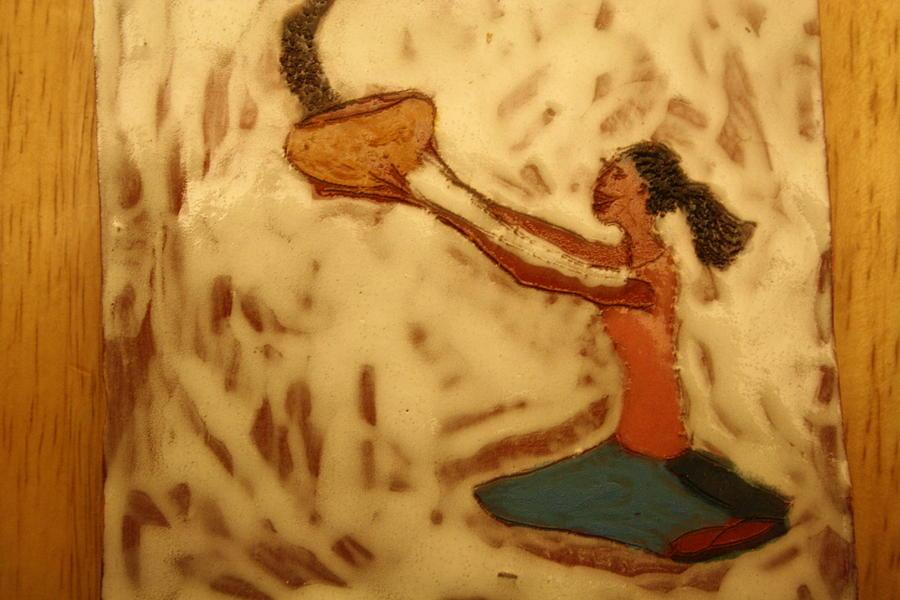 Jesus Ceramic Art - Contentment - Tile by Gloria Ssali