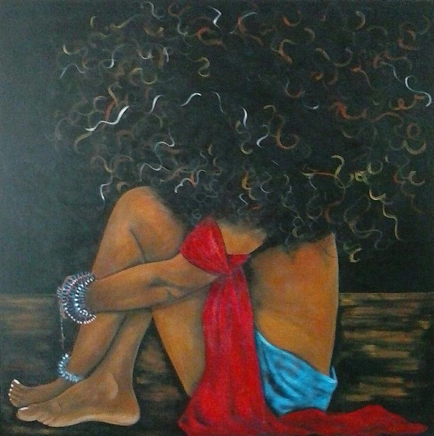 Woman Sitting Painting - Contentment by Jenny Pickens