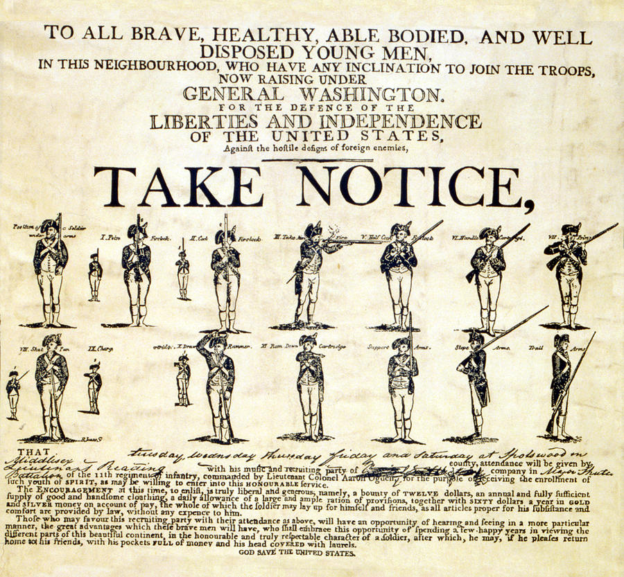 18th Century Photograph - Continental Army Recruitment Broadside by Everett