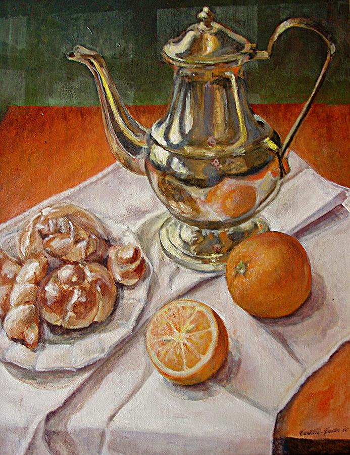 Continental Breakfast Painting - Continental Breakfast by JoAnne Castelli-Castor