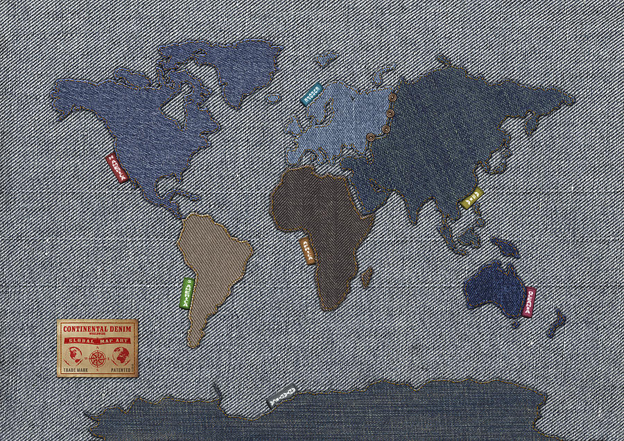 World Map Digital Art - Continental Denim World Map by Michael Tompsett