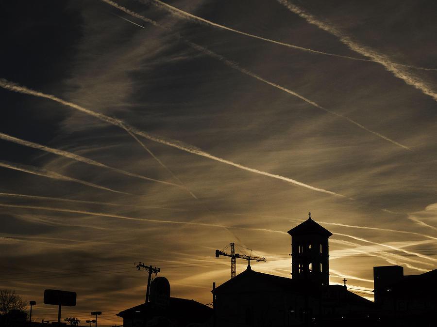 Sunrise Photograph - Contrails At Sunrise by Kelly E Schultz