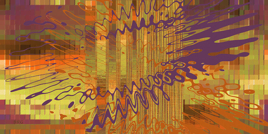 Multicolored Digital Art - Controlled Chaos Yellow by Ben and Raisa Gertsberg