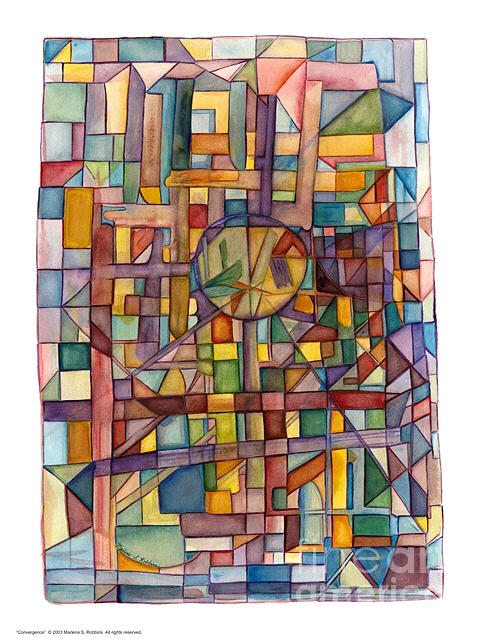 Shapes Painting - Convergence by Marlene Robbins