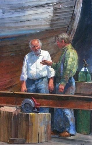 Conversation At Moss Landing Painting by Gil Dellinger