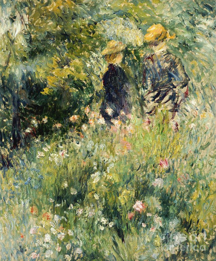 Renoir Painting - Conversation In A Rose Garden by Pierre Auguste Renoir