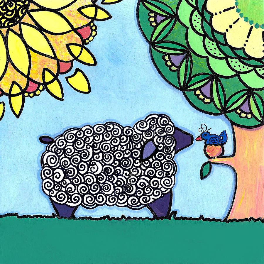 Caroline Painting - Conversation with a Bird by Caroline Sainis