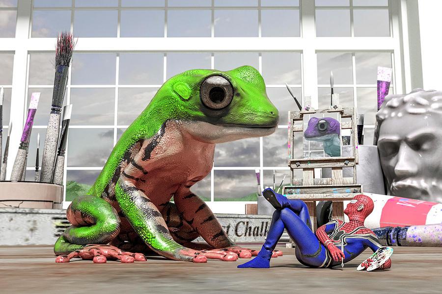 Frog Digital Art - Conversational Art  by Betsy Knapp