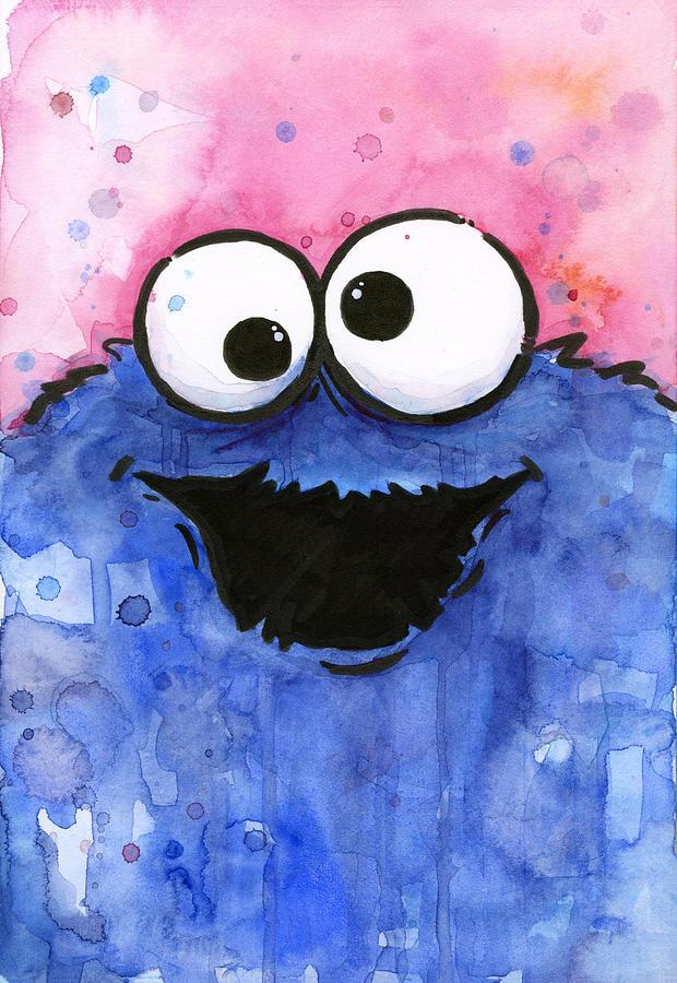 Cookie Painting - Cookie Monster by Olga Shvartsur