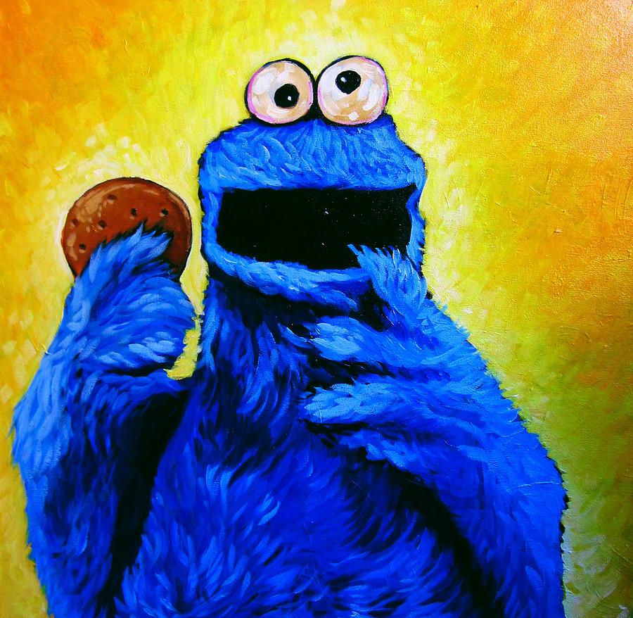 Cookie Monster Painting by Steve Hunter