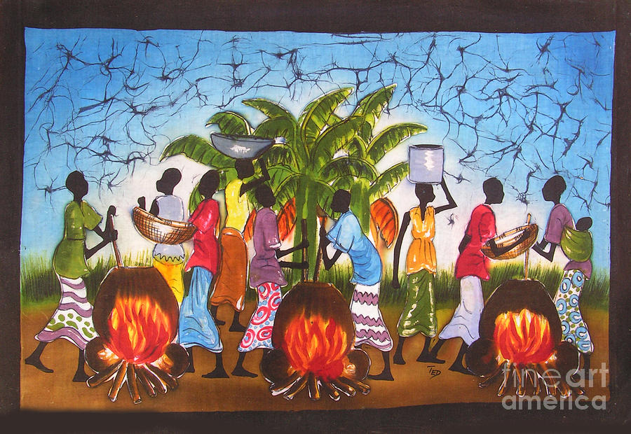 African Painting - Cooking As Art by Ted Samuel Mkoweka