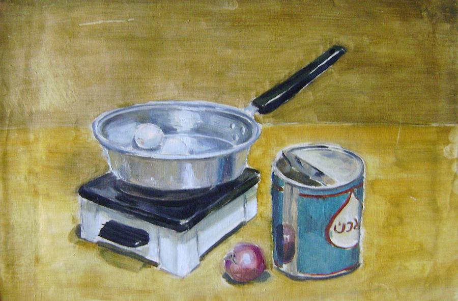 Still Life Painting - Cookware Set In Dormitory by Mehrdad Sedghi