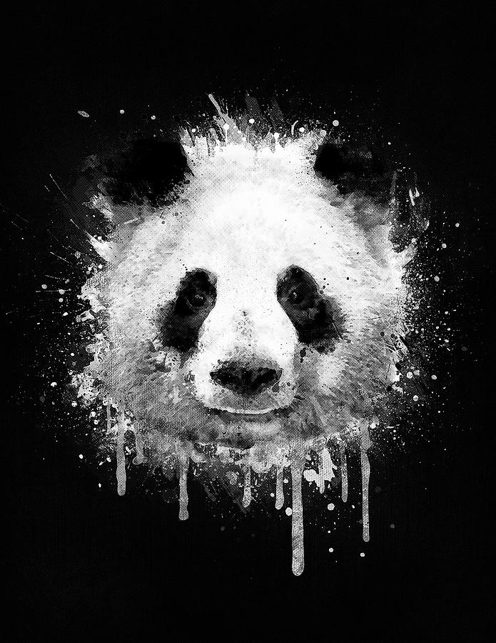 Panda digital art cool abstract graffiti watercolor panda portrait in black and white by philipp