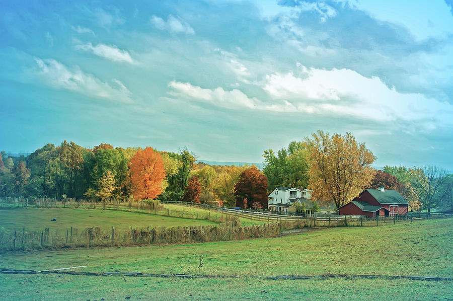 Country Photograph - Cool Blue Autumn Farm by Aimee L Maher ALM GALLERY
