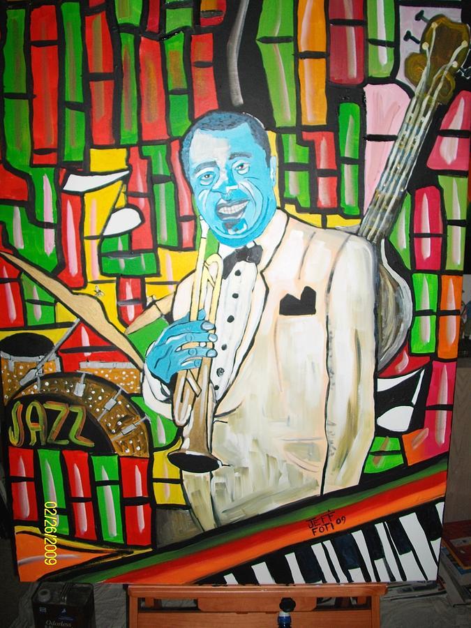 Cool Blue Jazz Painting by Jeffrey Foti