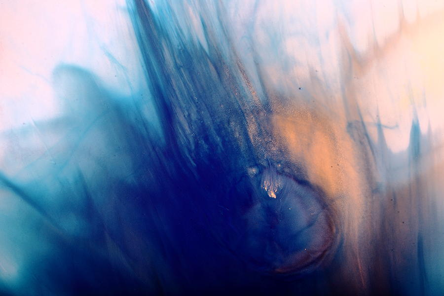 Cool Blue Liquid Abstract Art Fluid Painting by kredart by Serg Wiaderny
