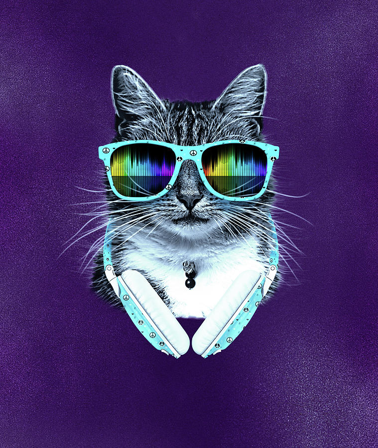 Cool Cat With Glasses And Headphones Digital Art By Julio Cesar