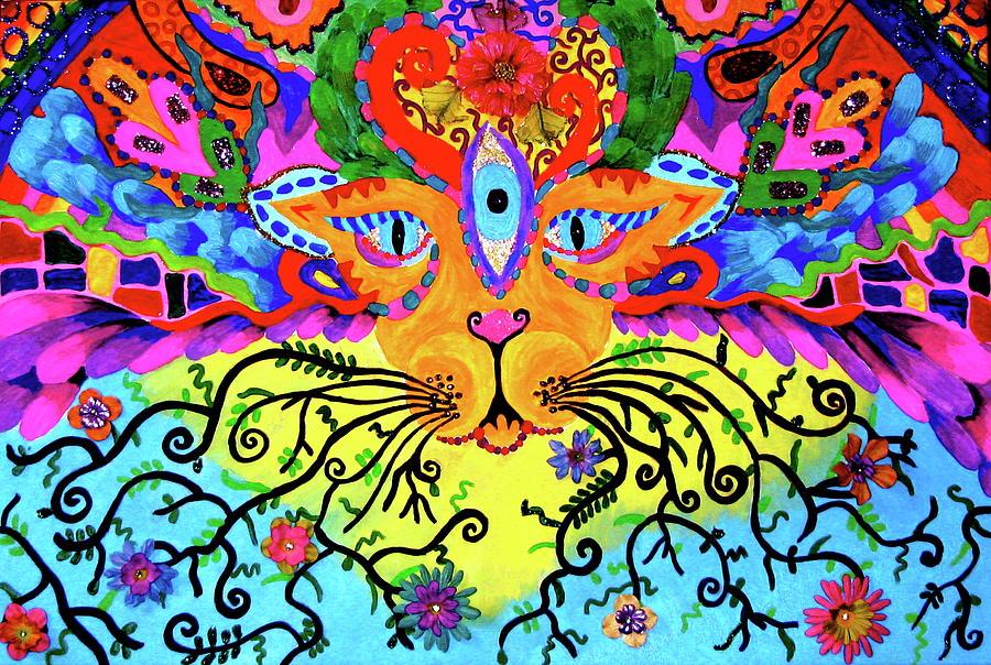Trippy Painting - Cool Kitty Cat by Marina Hackett