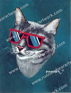 Cartoon Painting - Cool Kitty by Michael Meissner