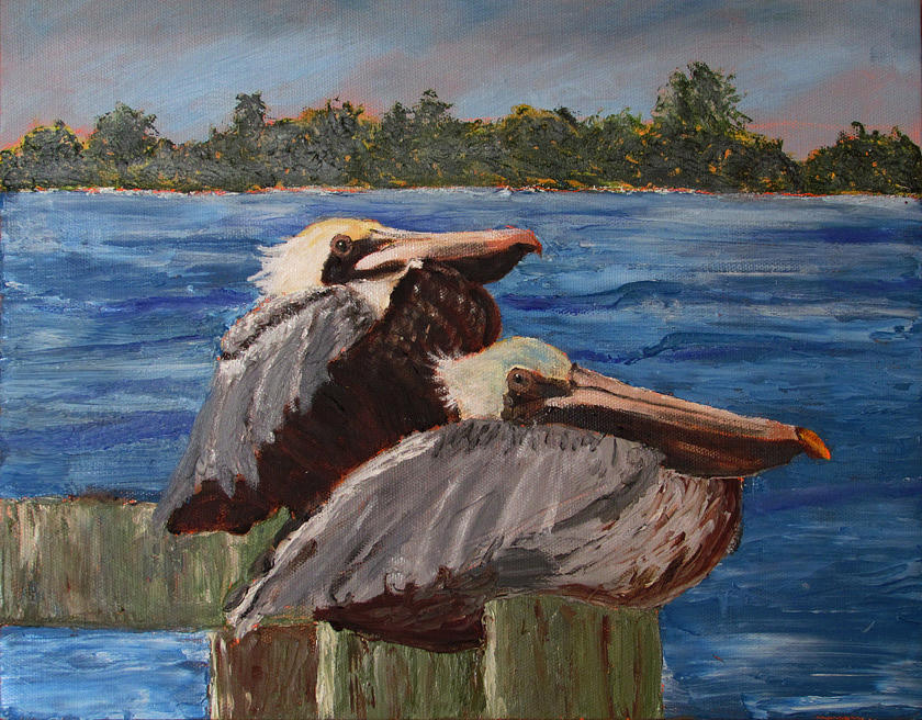 Pelican Painting - Cool Pelicans by Libby  Cagle