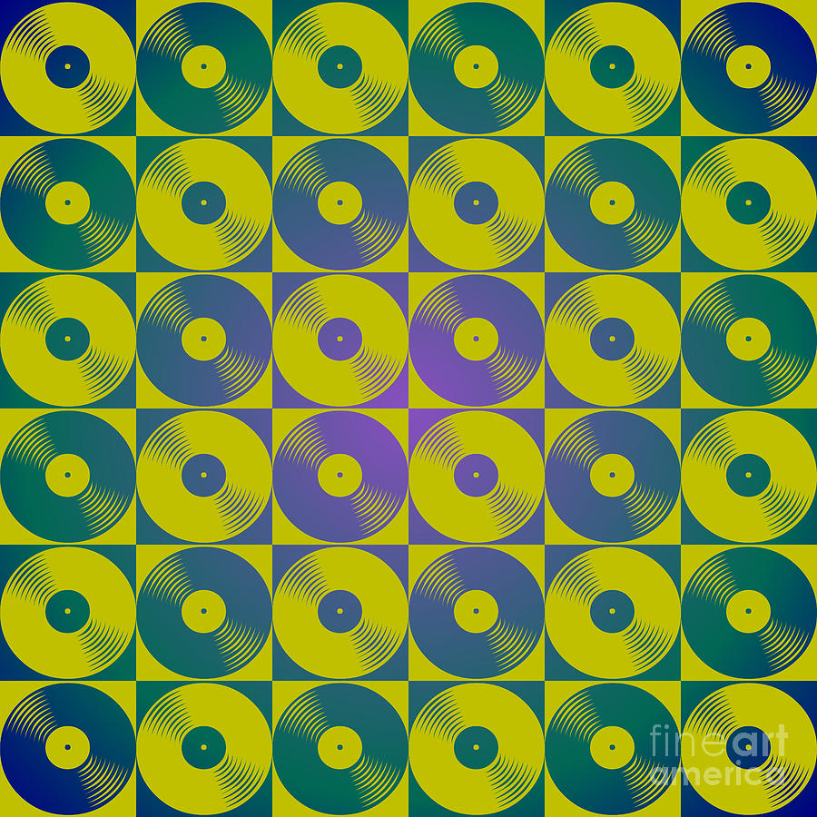 Cool Retro Vinyl Records Pop Art Pattern Digital Art by Heidi De Leeuw
