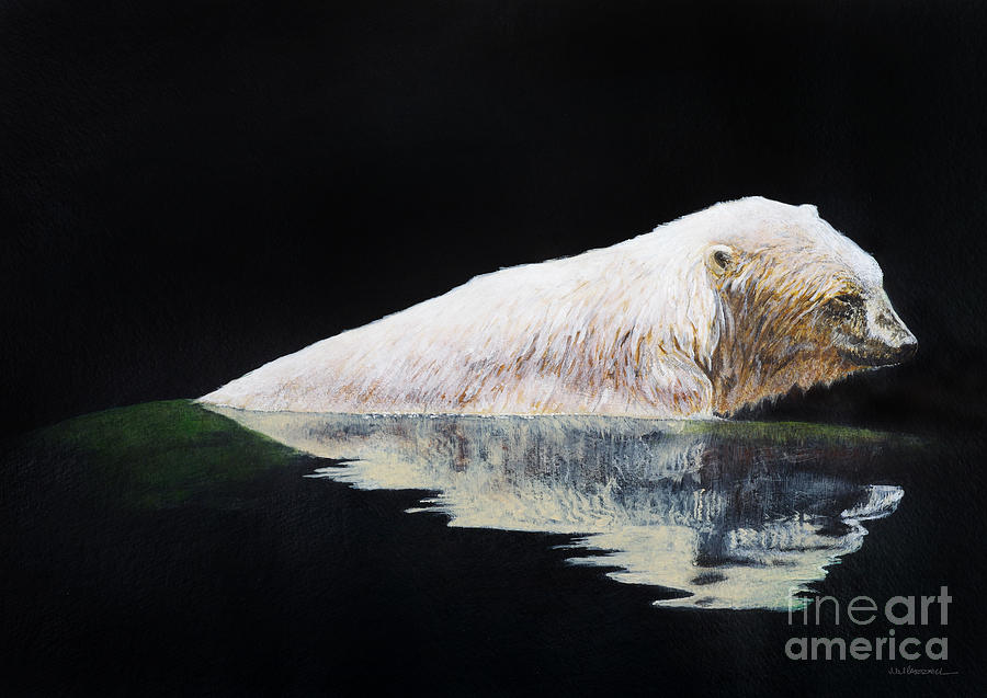 Polar Bear Painting - Cooling Off-chinook by Monica Carrell