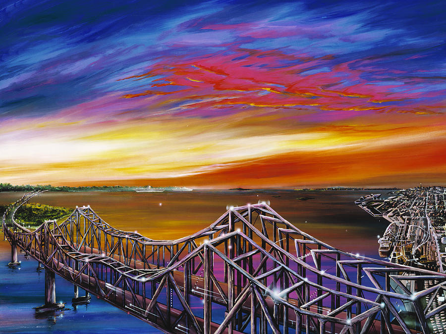 Clouds Painting - Cooper River Bridge by James Christopher Hill