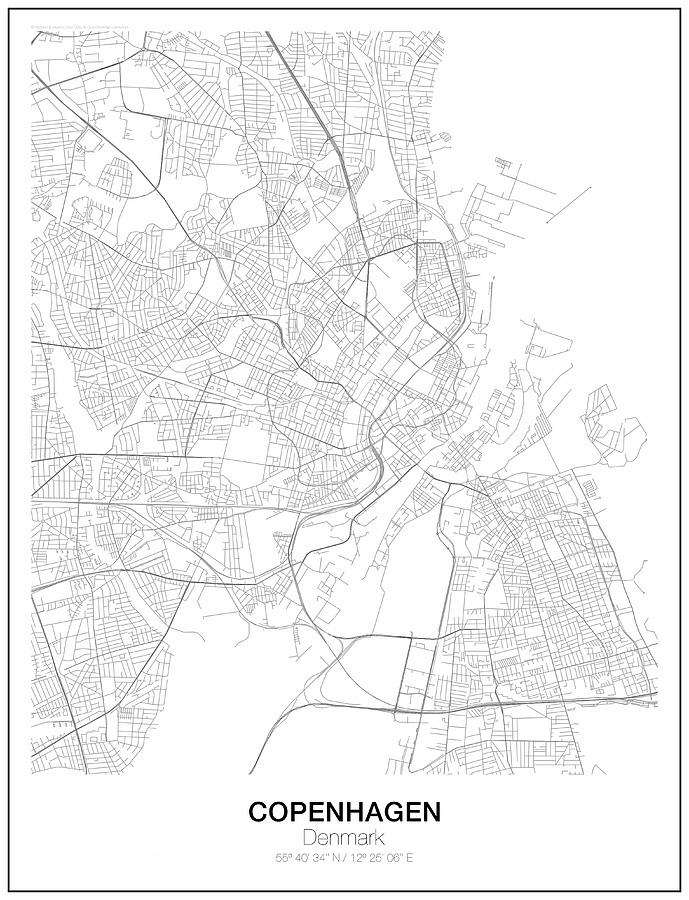 Copenhagen Minimalist Map Digital Art by Lori Hinner