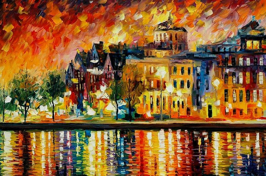 City Painting - Copenhagen Original Oil Painting  by Leonid Afremov