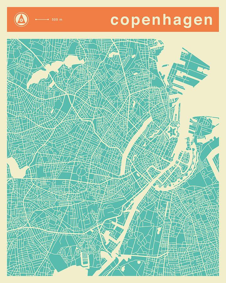 Copenhagen Street Map Digital Art by Jazzberry Blue