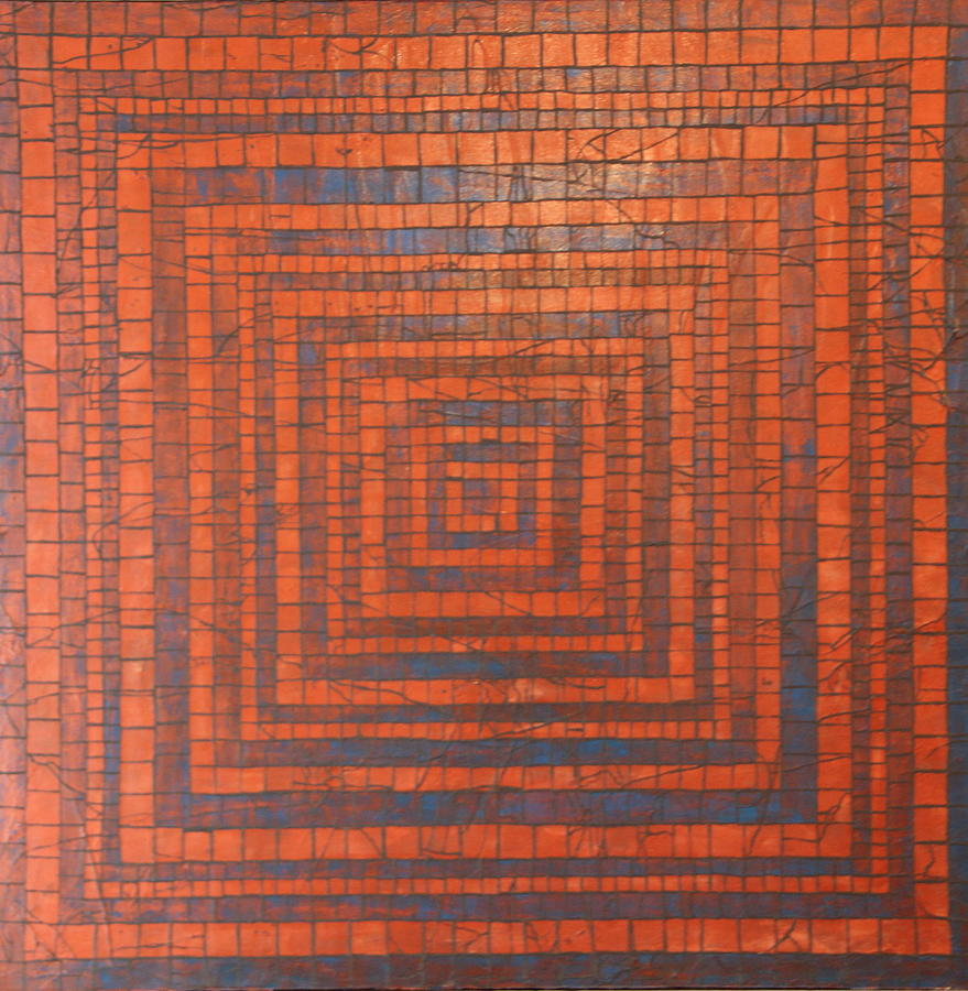 Copper Painting - Copper And Cerulean Crack by Tracy Fetter