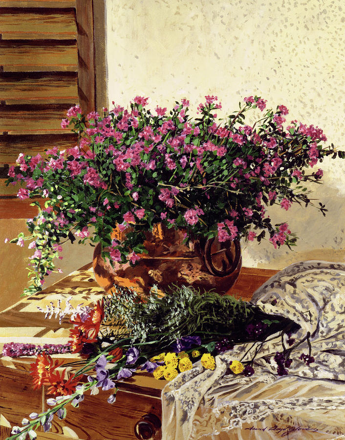 Still Life Painting - Copper And Lace by David Lloyd Glover