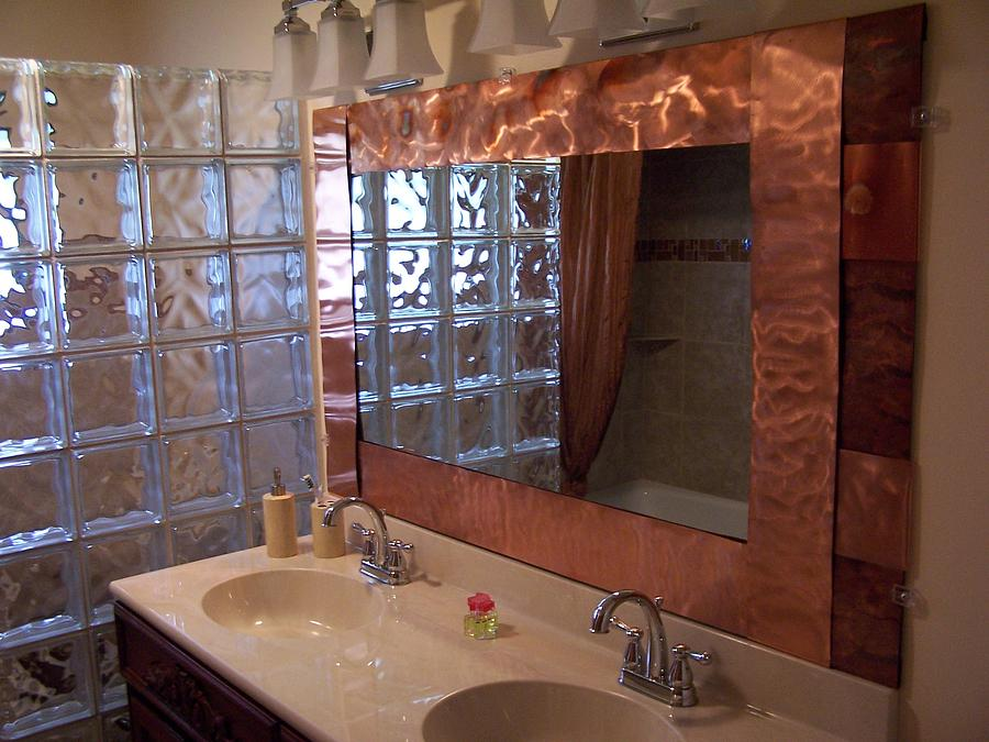 copper framed bath mirror relief by jeff williams. Black Bedroom Furniture Sets. Home Design Ideas