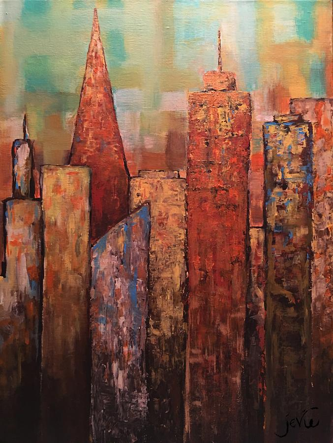 City Painting - Copper Points, Cityscape Painting by Jevie Stegner