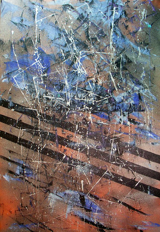Abstract Painting - Copper To Blue Abstract by Lynda McDonald