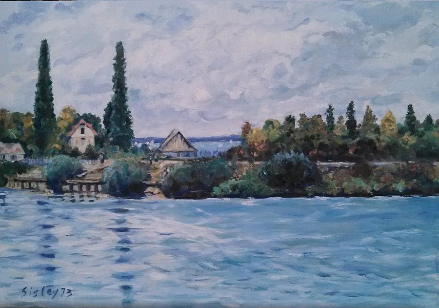 Copy of the Seine at Bougival by Sisley by Elisabeth Harvey