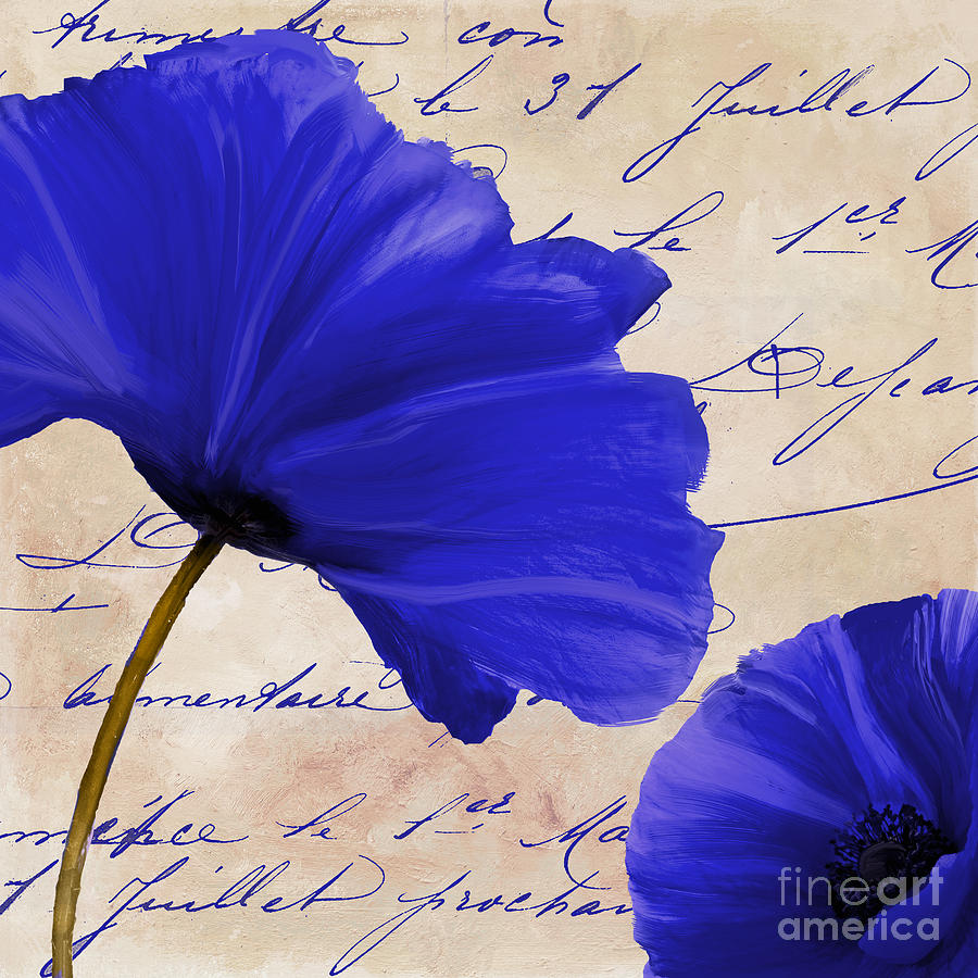 Blue Poppies Painting - Coquelicots Bleue II by Mindy Sommers