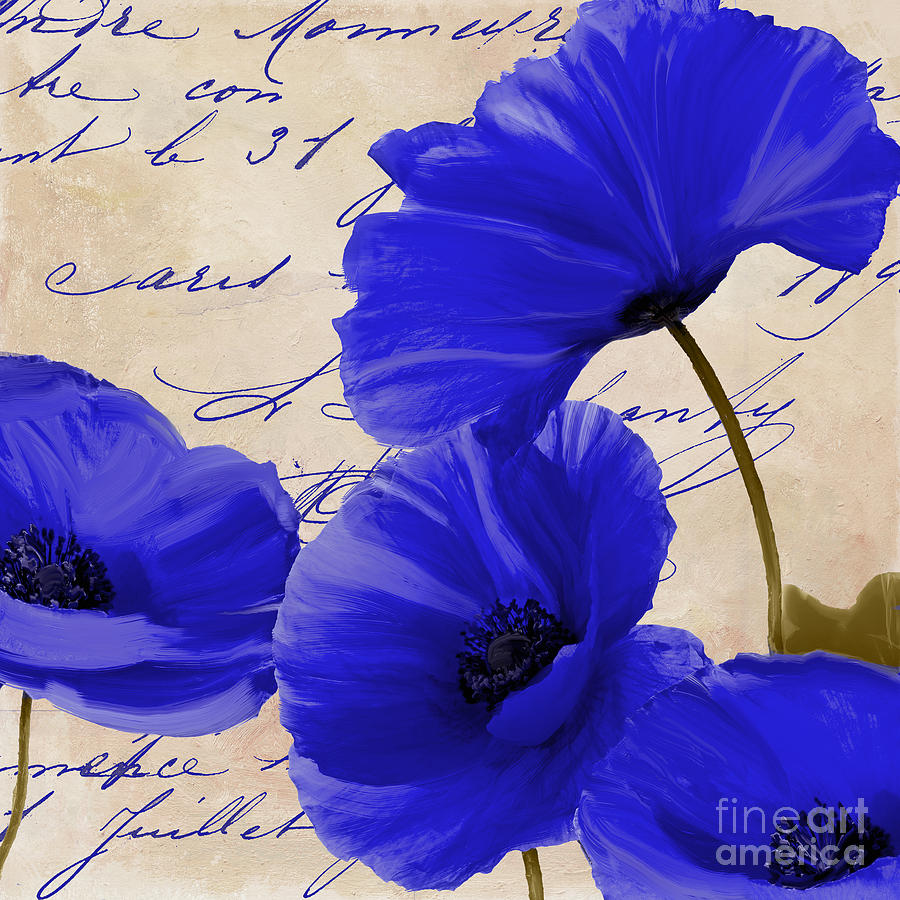 Poppies Painting - Coquelicots Bleue by Mindy Sommers